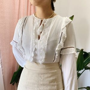 H&M summery white top with tassels